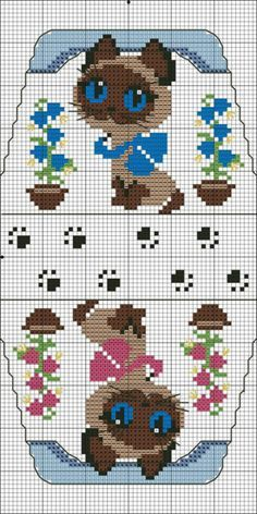 cat cross stitch purse... no color chart available, just use pattern chart as your color guide.. or choose your own colors... - Blog : http://broderiemimie44.canalblog.com/  Mange forskellige
