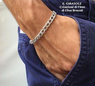 Bracciale da uomo con catena in alluminio argentato