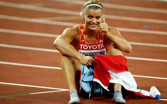 Hämta bilder Dafne Schippers, 4k, idrottsman, sprinters, spår