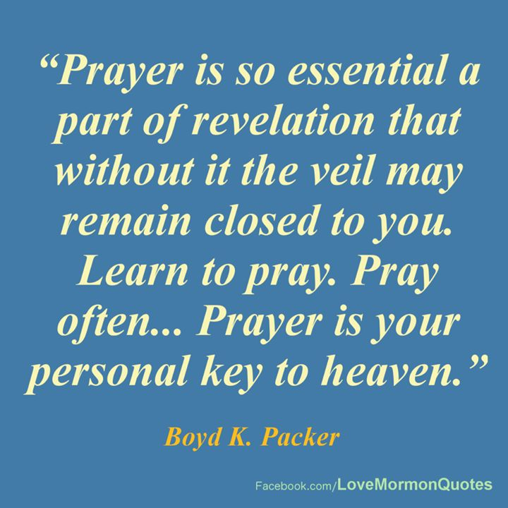 Prayer is so essential a part of revelation that without it the veil may remain closed to you. Learn to pray. Pray often… Prayer is your personal key to heaven. Boyd K. Packer