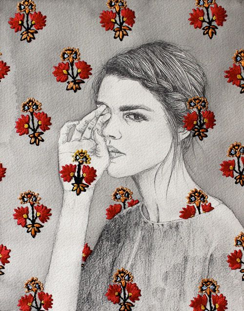 Embroidered drawings by artist Izziyana Suhaimi.
