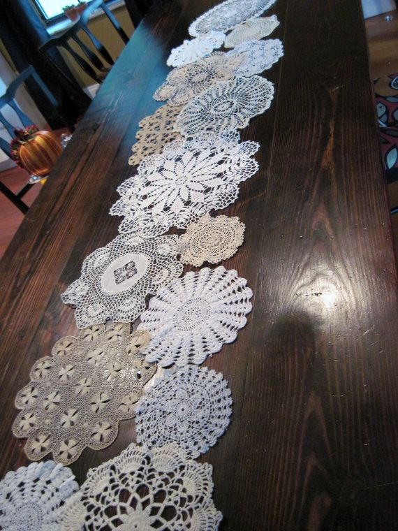 Reserved for Darci Handmade Doily Table Runner Vintage Doilies and Table Toppers for Wedding Table Treasury Item via Etsy