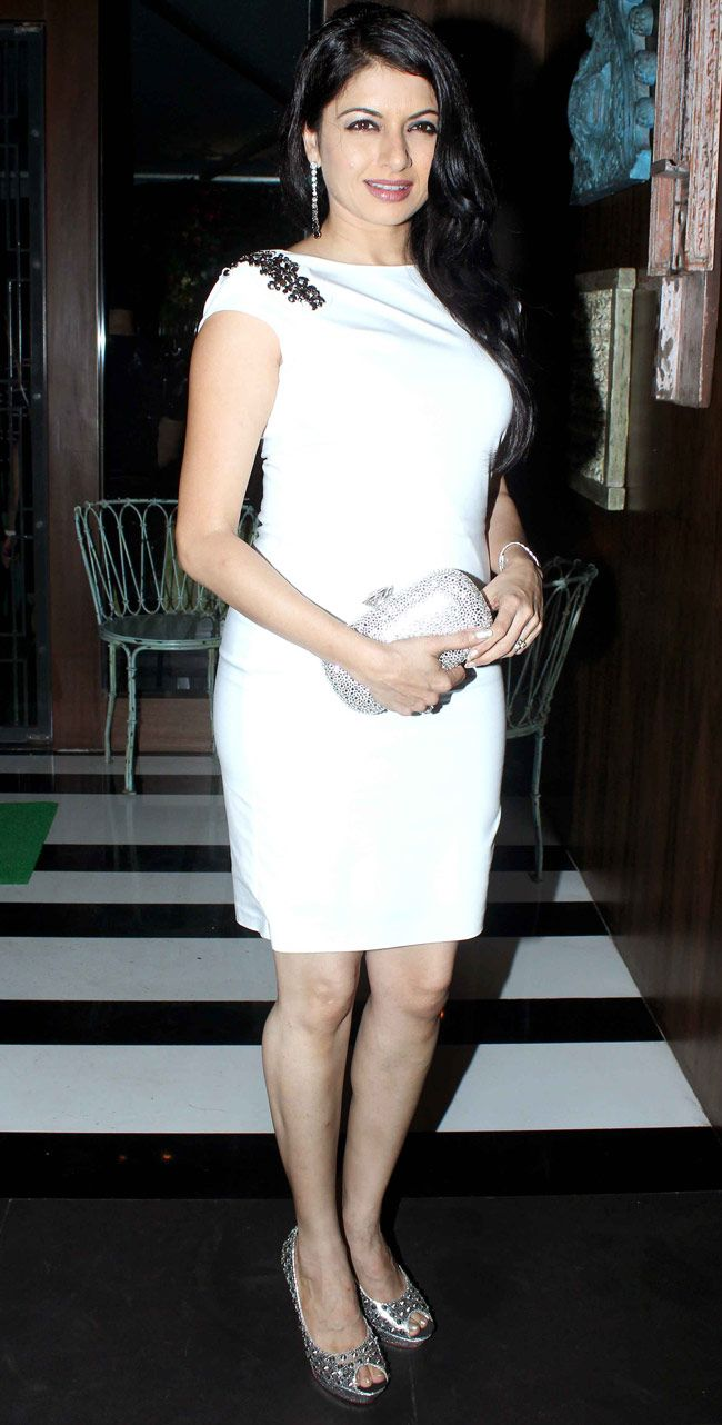 Bhagyashree who looked pretty in a white knee-length dress. #Style #Bollywood #Fashion #Beauty #Page3
