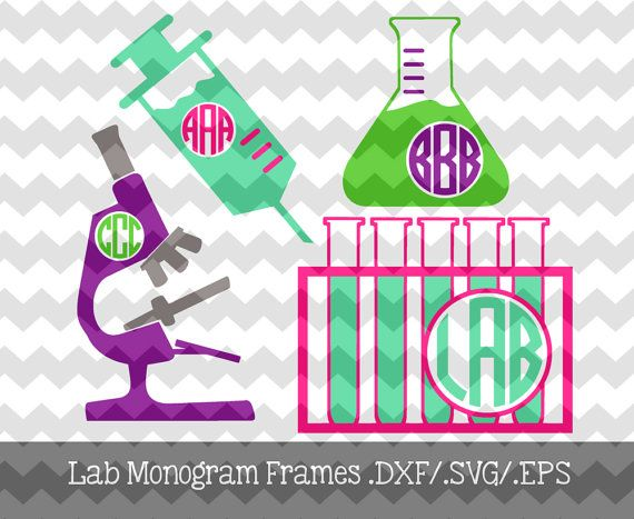 Lab Tech Monogram Frames .DXF/.EPS/.SVG Files for use with your Silhouette Studio Software