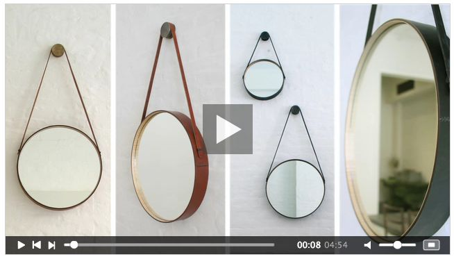 DIY: Hanging Round Mirror with Leather Strap (aka Captain's Mirror) How clever is that!