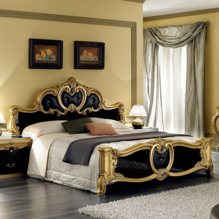 Barocco Panel Bed in Black / Gold by ESF Furniture