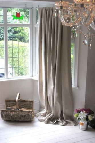 Mushroom Grey Linen Bay Window Curtains