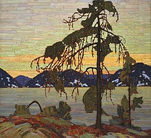 O-Canada-Oil on canvas painting of a tree dominating its rocky landscape during a sunset.Artists, Canada, Group Of Seven, Canvas, Tom Thomson, Jack O'Connel, Groupofseven, Tom Thompson, Jack Pine