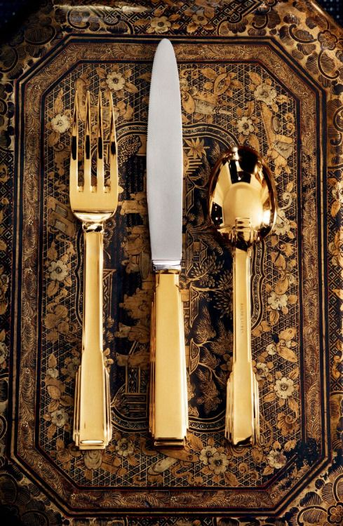ahtheprettythings:  Gold and silver-plated brass flatware from Ralph Lauren Home