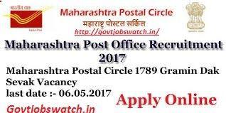 Apply Maharashtra Postal Circle Recruitment 2017, 1789 GDS Vacancy Apply Application form 2017, MAHA Post Office Jobs, MAH Postal Circle Bharti Online Forms