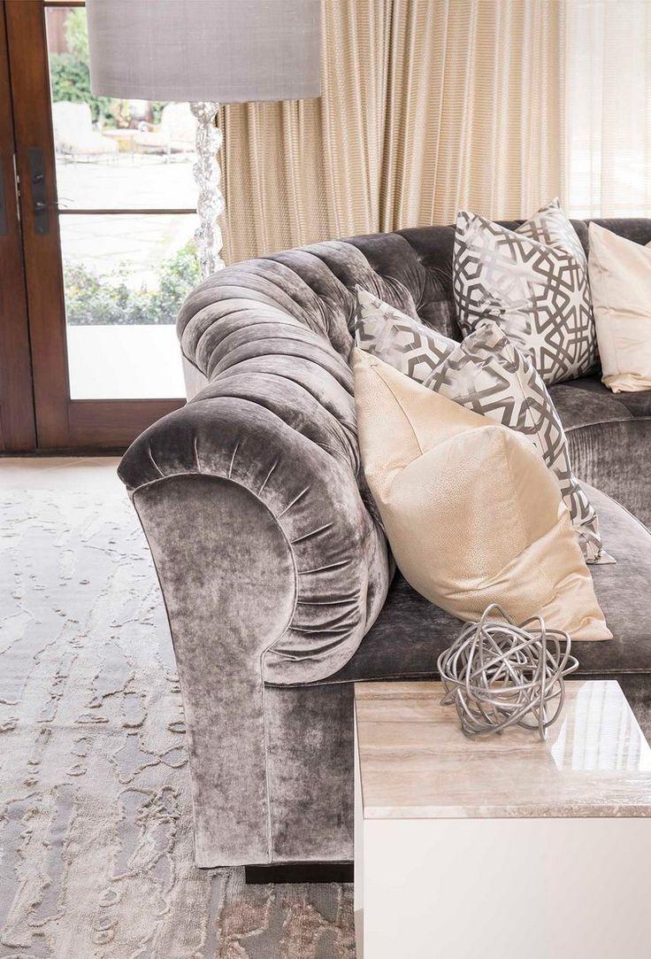 Upholstered modern grey sofa @ddginteriors   #luxuryinteriors #interiordesign