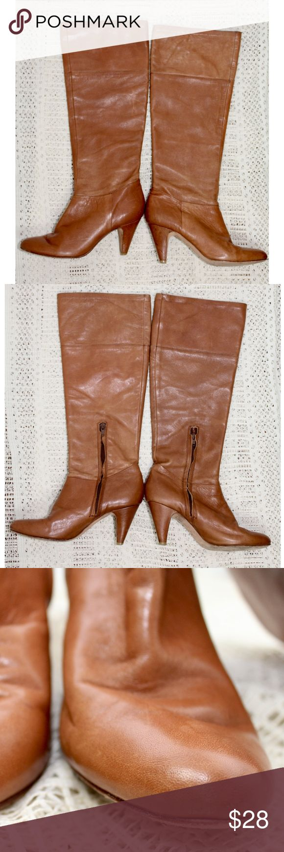 "Cynthia Vincent Anthropologie Leather Tan Boots Cynthia Vincent Anthropologie Leather Tan Boots, Size 6.5, Soft leather, Half side zip-leather is starting to roll on the zipper, Rounded toe, 3"" heels-does have some knicks from normal wear, Pre owned good condition-could use some shoe polish. See pictures and ask questions before buying! Anthropologie Shoes Heeled Boots"