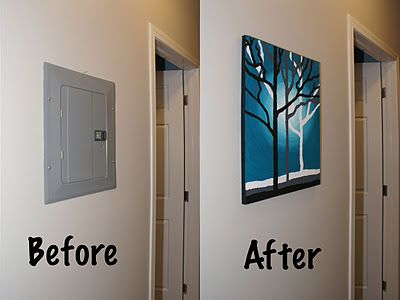 Hide electrical switch box with a canvas painting. It is a lot cheaper than wall art tapestry. Great idea!