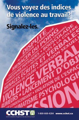 Installez cette affiche pour rappeler à vos travailleurs les nombreux types de comportements qui peuvent être considérés comme de la violence en milieu de travail et qui, s'ils se produisent, doivent être signalés à une autorité désignée dans votre lieu de travail, à un superviseur, à un représentant syndical ou à une personne qui peut apporter son aide.