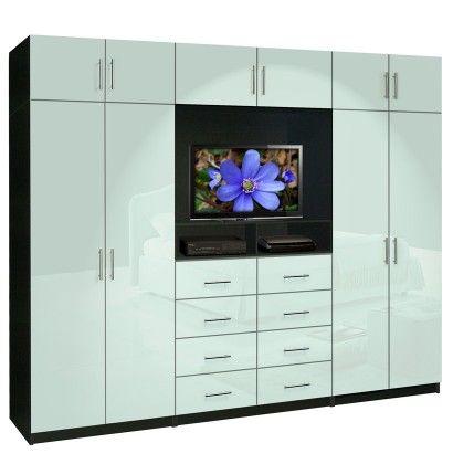 Aventa TV Wall Unit X-Tall - 10 Door Wardrobe Wall Unit for Bedrooms
