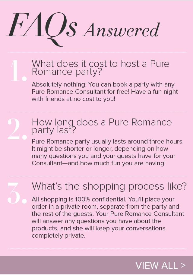Quick FAQs about hosting your Pure Romance Party.  Contact me to book your party today jenniferRwhyte@gmail.com