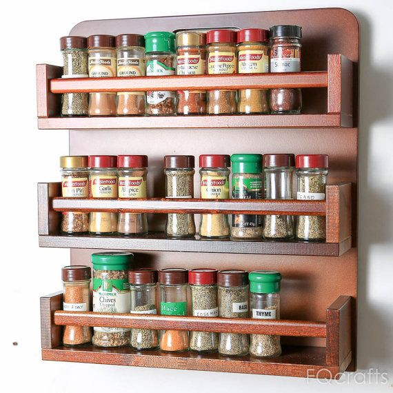 Wooden Spice Rack Three Tiers 54 40g herb and spice by fqcrafts
