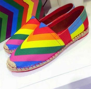 New Arrival 2015 Brand Designer Rainbow Canvas Espadrilles Luxury Genuine Leather Lining Rope Soled Flats Women