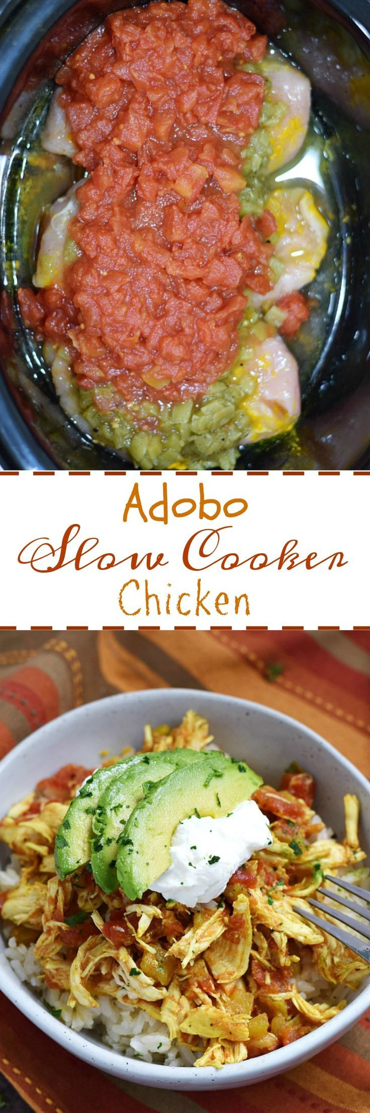 Adobo Slow Cooker Chicken is so simple to prepare and loaded with flavor for the perfect weeknight meal! | cookingwithcurls.com