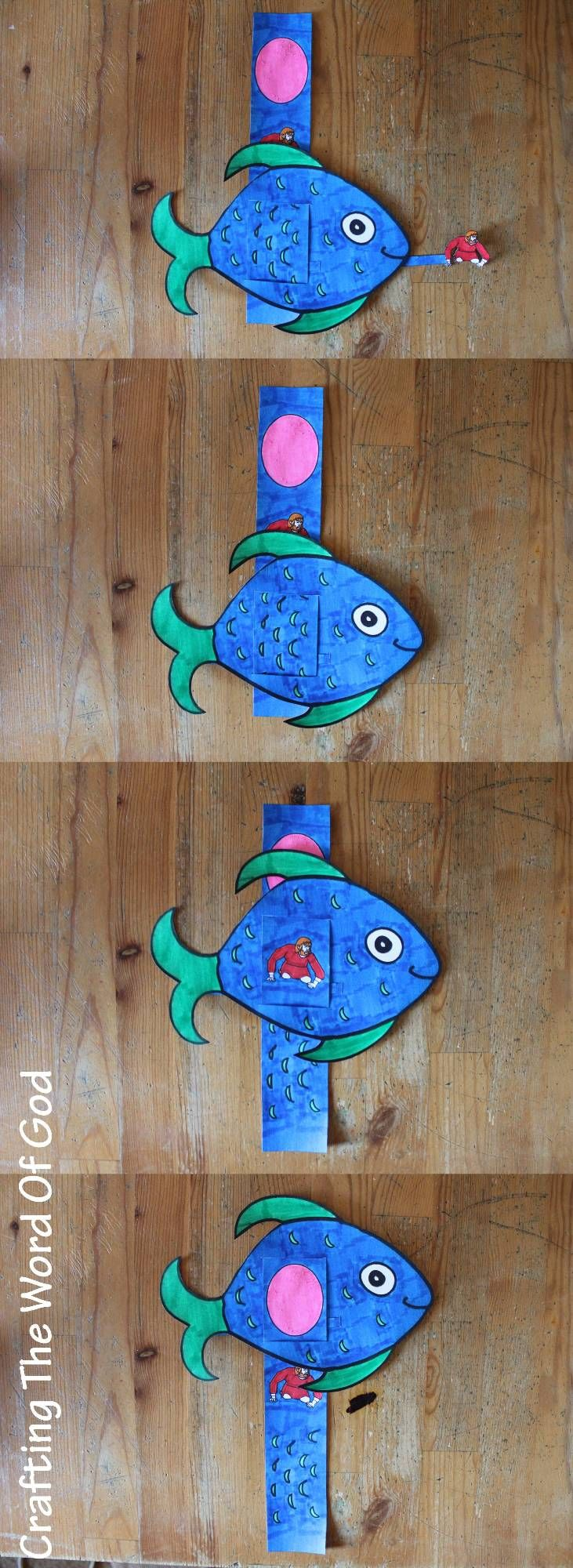 This cute craft is for the story of Jonah and the great fish. Your kids will be able to recreat this Bible story for themselves. Instructions Print the template on card stock. (Template) Color and ...