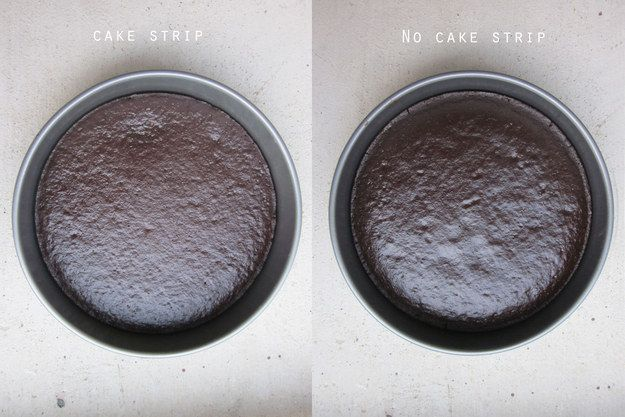 Get perfectly even cake layers every time by tying wet fabric strips around the outside of the pan. It cools the outside of the pan allowing the whole thing to cook evenly.