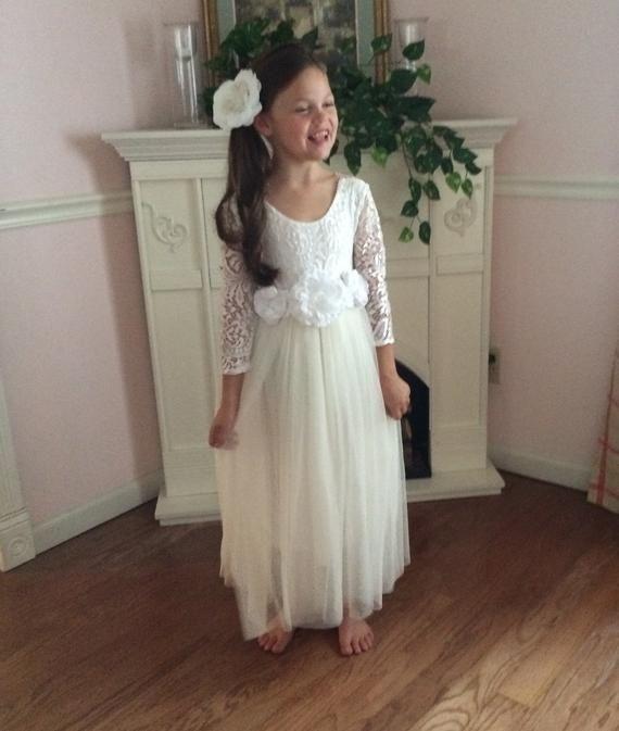 a7e102e55b54 Ivory flower girl dress Tulle long sleeve wedding dress Ball gown Floor  length Boho First Communion dress Cream Junior Bridesmaid dress