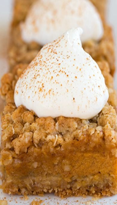 Pumpkin Pie Crumb Bars....These were so yummy and everyone loved them that tried them! I served mine with bourbon-spiked whipped cream with pumpkin pie spice...I like them better warm or room temperature, as opposed to chilled (like the recipe suggests)