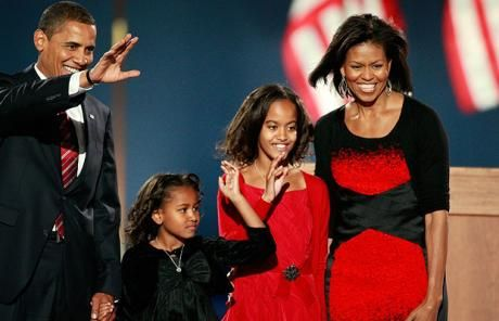 Michelle Obama's election night dress upsets America's fashion crowd - Telegraph - 6 Nov 2008 - President elect Barack Obama walks on stage, with his wife Michelle  and daughters Malia and Sasha