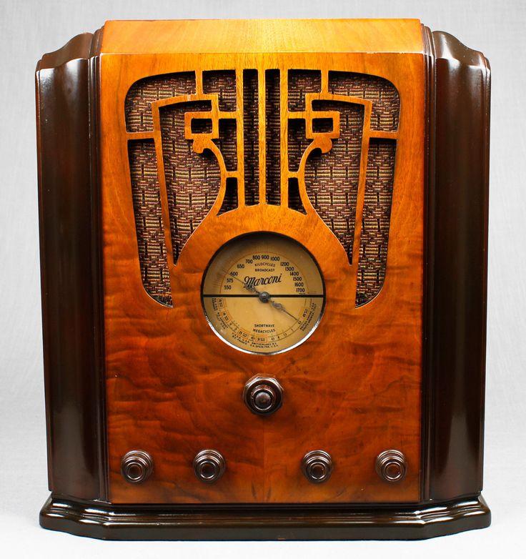 Beautiful Vintage 1936 Marconi 76 Intricate Wood Tombstone Vacuum Tube Radio | eBay