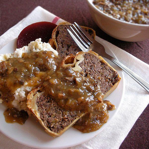 Vegetarian Mushroom and Lentil Nut Roast in Puff Pastry - great take on a vegetarian meatloaf or wellington.
