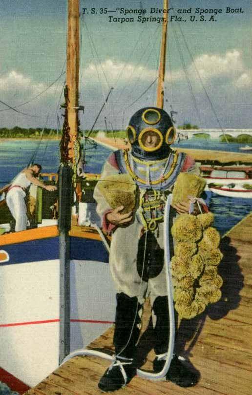 illustration of an old diver