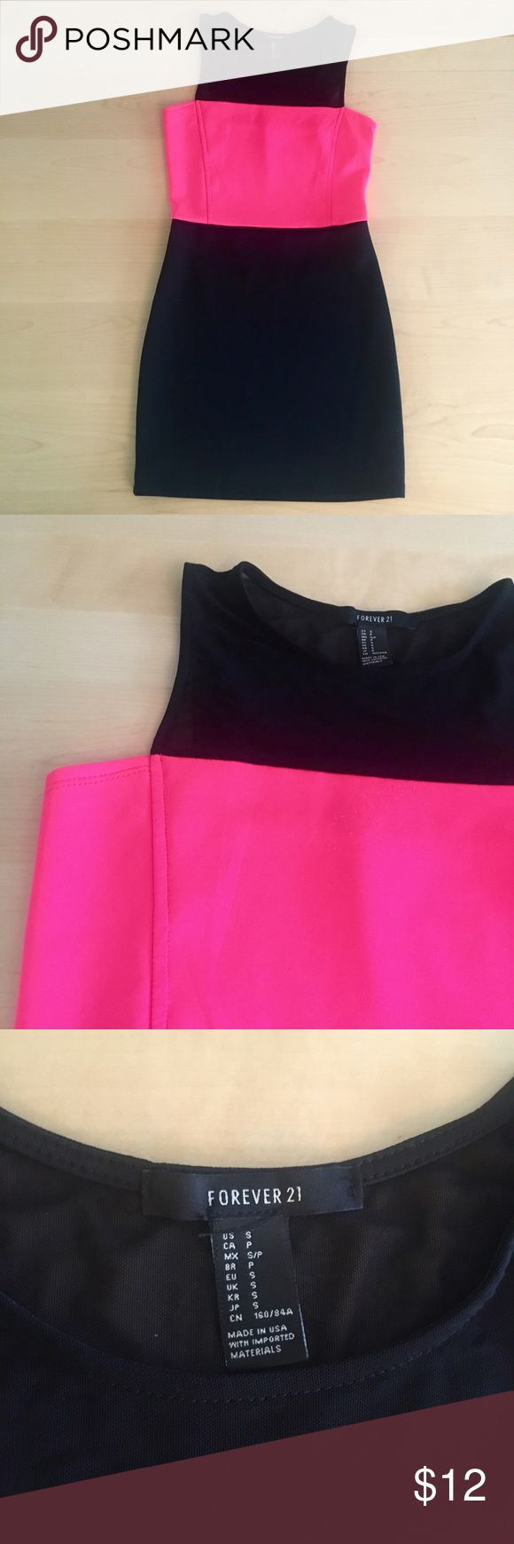 Bodycon dress from Forever 21 Black and hot pink bodycon dress from Forever 21. Black at the top is a see through mesh. Really flattering cut. Only worn once. Forever 21 Dresses Mini