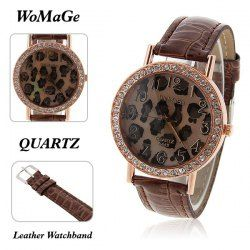 $3.94 WoMaGe Women's Watch with Leopard Patterned Rhinestone Decoration Round Dial Brown Leather Band