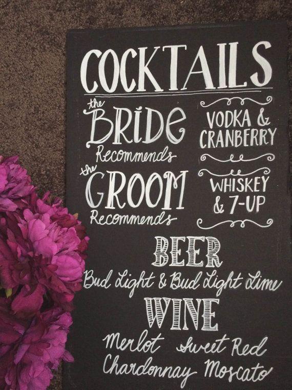 """Wedding Bar Menu Chalkboard Sign - Personalized Wedding Menu - (12"""" x 20"""")"""