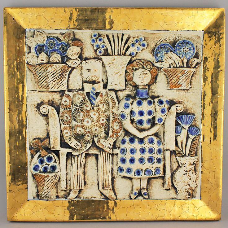 Lisa Larson (1966) Striking Jubilee Couple Wall Plaque