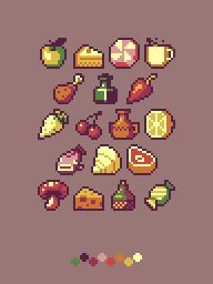 Misc. pixel art (192×256) apple,  cake, pie, peppermint, mint,  coffee, tea, hot cocoa, chocolate, mug, cup, turkey leg, drumstick, ink bottle, pepper, carrot, cherries, urn, vase, pitcher, sliced lemon half, fish, seashell, shell, beef steak, meat, mushroom, cheese, wine bottle, candy