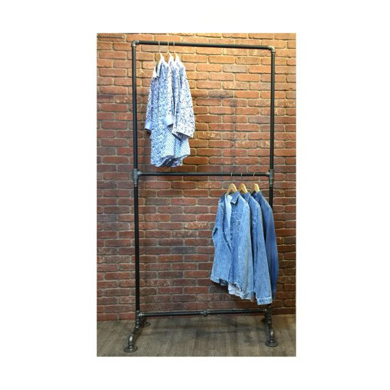 Industrial Pipe Clothing Rack Double Row  Heavy Duty