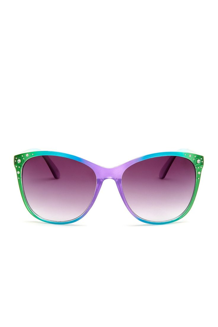 Steve Madden Women's Retro Plastic Oversized with Stones Sunglasses