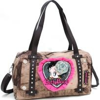 KHOT Stone Washed BETTY BOOP Brown Shoulder Bag w/ Stud & Lace Accents