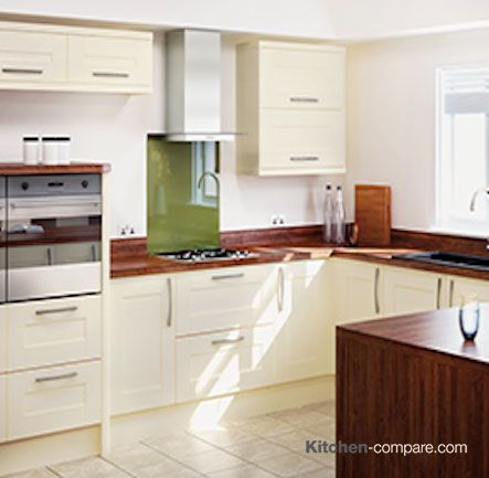 Homebase - Hygena Palmaria Cream. A Shaker inspired kitchen with a soft cream, wood-grain finish, Palmaria Cream offers a super-stylish look. For more info click here - http://bit.ly/1KEPecO