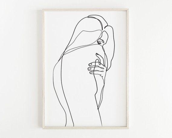 Abstract Woman Body PRINTABLE, Single Line Art, Woman Art, Naked Print, Feminine Poster, Female Body, Female Figure Art, Nude Art Drawing