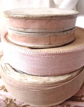 old bolts of faded French ribbon How cute to paint goodwill tins like this!