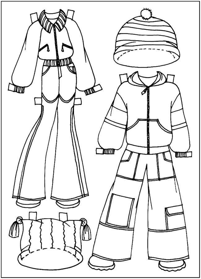 раскраски для девочек, Куклы-вырезалки, костюмы лыжников ...