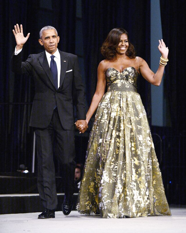 First Lady Michelle Obama Stuns in Gold at Congressional Black Caucus Awards