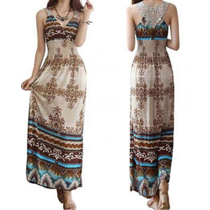 Vestito lungo maxi abito stampato marrone turchese crochet bohemien smanicato