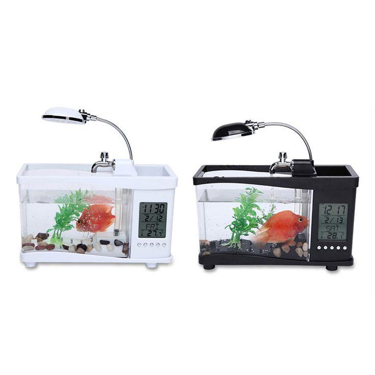 >> Click to Buy << USB Acrylic Mini Fish Tank Aquarium Led Lighting Light With Alarm Clock For Living Room Bedroom Desk Decoration Accessories #Affiliate
