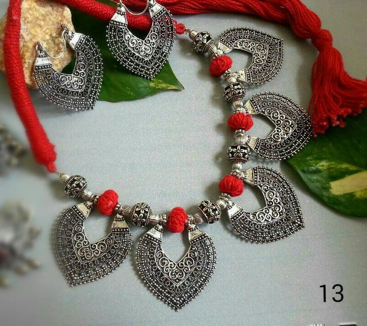 Antique Red thread oxidised german silver 5 leaf pendant and leaf earring