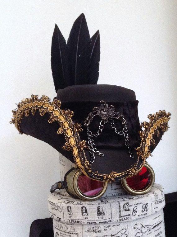 Black Leather Steampunk Tricorn Captain Ahab baroque