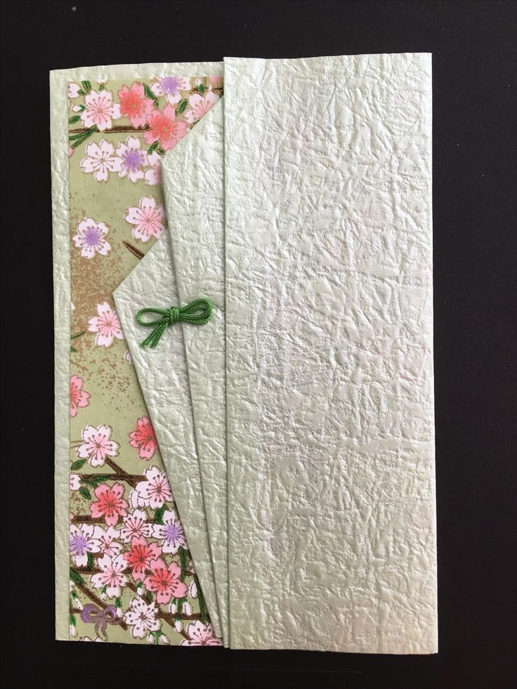 handmade greeting card ... beautiful Japanese papers ... folded element on top panel ... simple design lets the papers shine ...