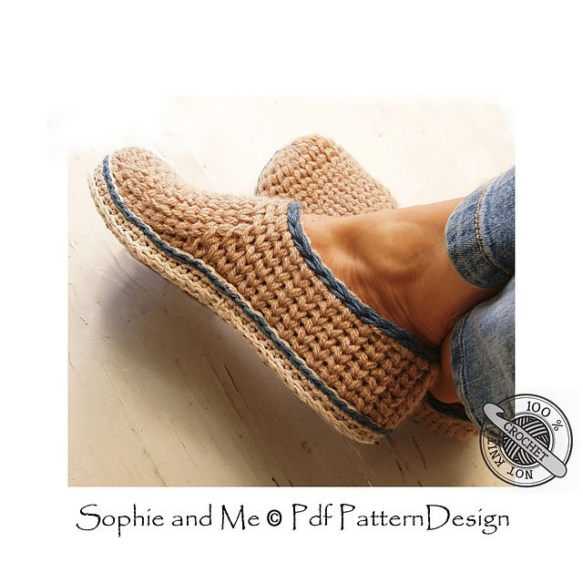 Ravelry: Crochet-Knit Casual Slippers pattern by Sophie and Me-Ingunn Santini